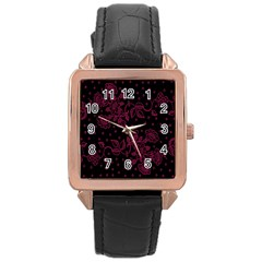 Pink Floral Pattern Background Wallpaper Rose Gold Leather Watch