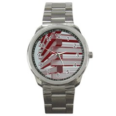 Red Sunglasses Art Abstract Sport Metal Watch
