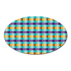Pattern Grid Squares Texture Oval Magnet