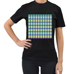 Pattern Grid Squares Texture Women s T Shirt (black)