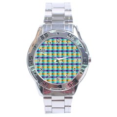 Pattern Grid Squares Texture Stainless Steel Analogue Watch by Nexatart