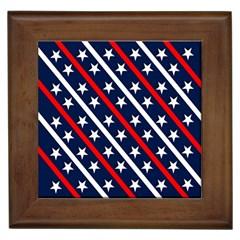 Patriotic Red White Blue Stars Framed Tiles