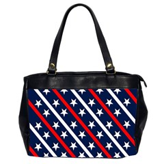 Patriotic Red White Blue Stars Office Handbags (2 Sides)