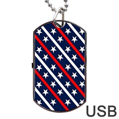 Patriotic Red White Blue Stars Dog Tag Usb Flash (one Side)