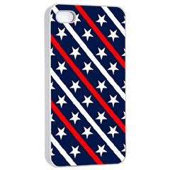Patriotic Red White Blue Stars Apple Iphone 4/4s Seamless Case (white)