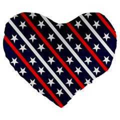 Patriotic Red White Blue Stars Large 19  Premium Heart Shape Cushions