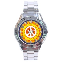 Peace Art Artwork Love Dove Stainless Steel Analogue Watch