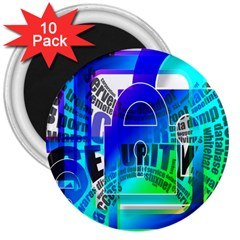 Security Castle Sure Padlock 3  Magnets (10 Pack)  by Nexatart
