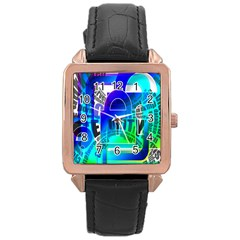 Security Castle Sure Padlock Rose Gold Leather Watch