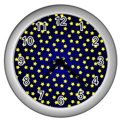 Star Christmas Yellow Wall Clocks (silver)  by Nexatart