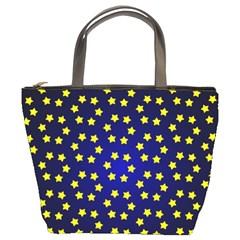 Star Christmas Yellow Bucket Bags by Nexatart