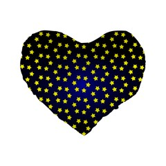 Star Christmas Yellow Standard 16  Premium Flano Heart Shape Cushions