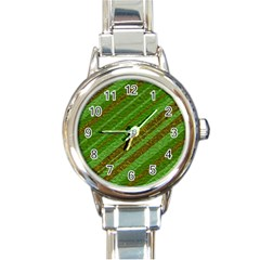 Stripes Course Texture Background Round Italian Charm Watch