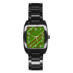 Stripes Course Texture Background Stainless Steel Barrel Watch by Nexatart