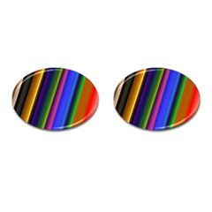 Strip Colorful Pipes Books Color Cufflinks (oval) by Nexatart