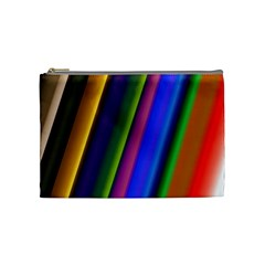 Strip Colorful Pipes Books Color Cosmetic Bag (medium)  by Nexatart