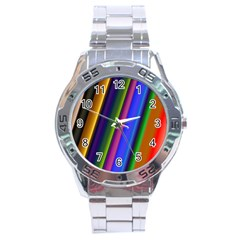 Strip Colorful Pipes Books Color Stainless Steel Analogue Watch by Nexatart