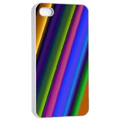 Strip Colorful Pipes Books Color Apple Iphone 4/4s Seamless Case (white) by Nexatart