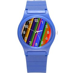 Strip Colorful Pipes Books Color Round Plastic Sport Watch (s) by Nexatart
