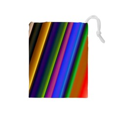 Strip Colorful Pipes Books Color Drawstring Pouches (medium)