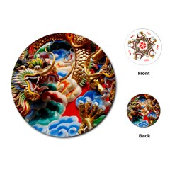Thailand Bangkok Temple Roof Asia Playing Cards (round)