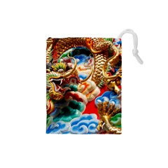 Thailand Bangkok Temple Roof Asia Drawstring Pouches (small)
