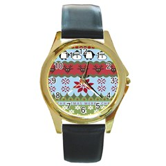 Ugly Christmas Xmas Round Gold Metal Watch