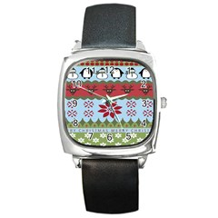 Ugly Christmas Xmas Square Metal Watch by Nexatart