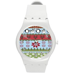 Ugly Christmas Xmas Round Plastic Sport Watch (m) by Nexatart