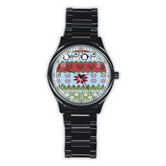 Ugly Christmas Xmas Stainless Steel Round Watch