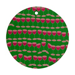 Wine Red Champagne Glass Red Wine Ornament (round)