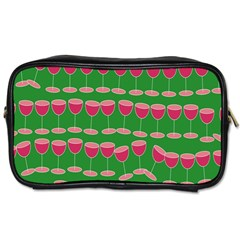 Wine Red Champagne Glass Red Wine Toiletries Bags 2 Side by Nexatart