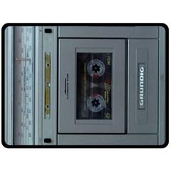 Vintage Tape Recorder Double Sided Fleece Blanket (large)