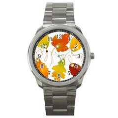 Vector Beautiful Maple Leaf Sport Metal Watch by Nexatart