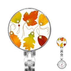 Vector Beautiful Maple Leaf Stainless Steel Nurses Watch by Nexatart