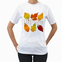 Vector Beautiful Maple Leaf Women s T Shirt (white)