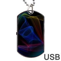 Lines Rays Background Light Pattern Dog Tag Usb Flash (two Sides)