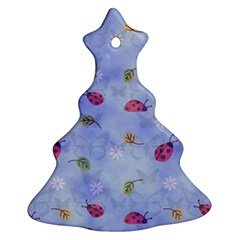 Ladybug Blue Nature Christmas Tree Ornament (two Sides) by Nexatart