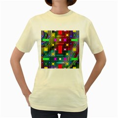 Art Rectangles Abstract Modern Art Women s Yellow T Shirt