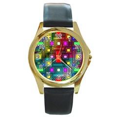 Art Rectangles Abstract Modern Art Round Gold Metal Watch