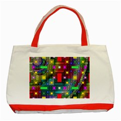 Art Rectangles Abstract Modern Art Classic Tote Bag (red)