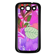 Abstract Flowers Digital Art Samsung Galaxy S3 Back Case (black)