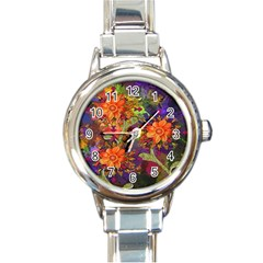 Abstract Flowers Floral Decorative Round Italian Charm Watch by Nexatart