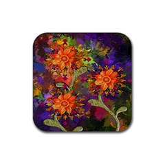 Abstract Flowers Floral Decorative Rubber Square Coaster (4 Pack)  by Nexatart