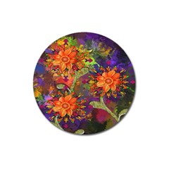 Abstract Flowers Floral Decorative Magnet 3  (round) by Nexatart