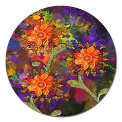 Abstract Flowers Floral Decorative Magnet 5  (round) by Nexatart