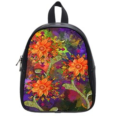Abstract Flowers Floral Decorative School Bags (small)