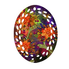 Abstract Flowers Floral Decorative Oval Filigree Ornament (two Sides)