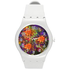 Abstract Flowers Floral Decorative Round Plastic Sport Watch (m) by Nexatart