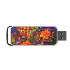 Abstract Flowers Floral Decorative Portable Usb Flash (two Sides) by Nexatart
